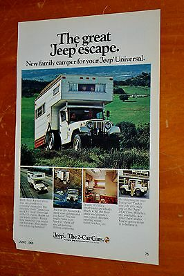Neat 1969 Jeep Cj-5 4X4 With Camper Ad / American 60S Vintage Retro