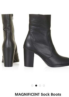 Topshop Black Leather Magnificent Sock Boots New Size 5 RRP £79