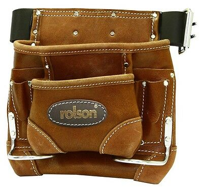 "Professional Double Nail Tool Pouch Belt Oiled Leather Hammer Waist 37""-46"""