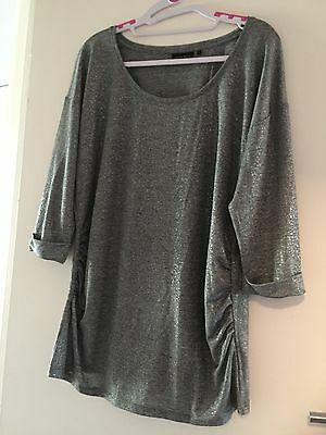 Gorgeous Silver Maternity Top, L, Worn Once Only!