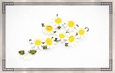 Porcelain daisy cake decorations jewellery craft flower arrangements x 6 daises