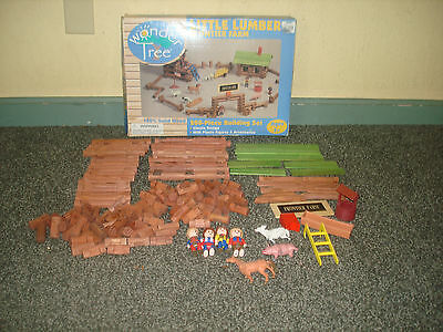 Wonder Tree Little Lumber Frontier Farm Building Toy Wooden Building Log Set
