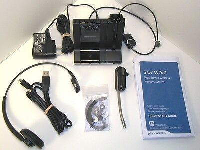 Plantronics W740 Savi Wireless Headset System, Complete, FREE Shipping