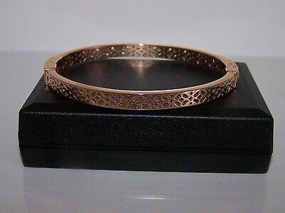 Fossil Signature Pattern Bangle In Rose Gold Plated Steel Unworn