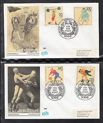 A-21) Germany First Day Cover 1991 -  Sport Promotion Wrestling Cycling