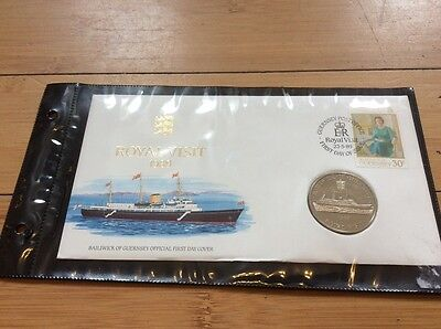 first day cover Royal visit 1989 commemorative two pound coin