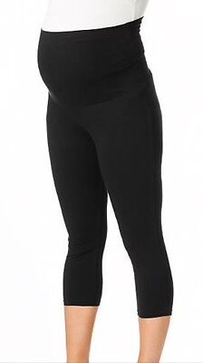 Stretch Black Maternity Cropped Leggings, 16