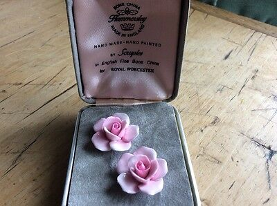 Rose design bone china pierced earrings by Hammersley for Royal Worcester