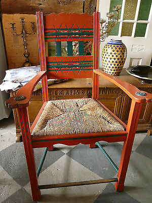 Antiker Stuhl Worpswede Malerkolonie handbemalt antique chair arts and craft