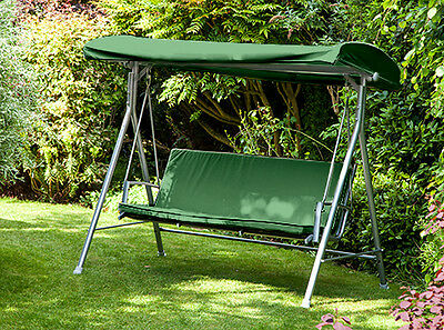 Green Replacement 3 Seater Canopy Garden Patio Swing Bench Cushion Seat Backrest