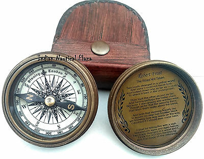 Robert Frost 1885 Poem Engraved London Compass Old Marine With Lather Case