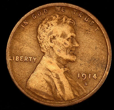 1914-S Lincoln Wheat Cent- Semi Key !! Better Date !! #t2859**high Grade