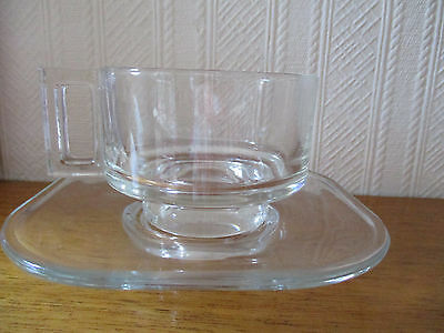 Vintage Retro  Cup and Saucer Clear Glass