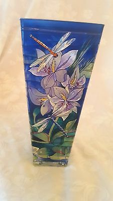 Vintage AMIA Studios Hand Painted Vase - Dragonfly/Floral in Blues/Greens/Lavend