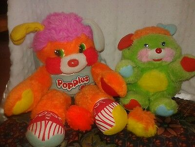"Mattel Popples Basketball Sports 10"" Plush Toys Vintage 80's Green LOT of 2 CUTE"
