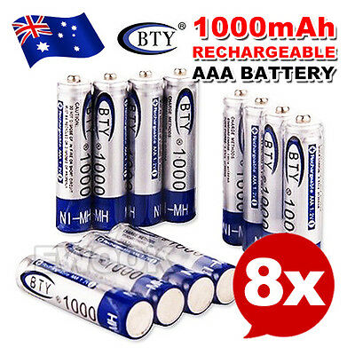 8X BTY AAA Rechargeable Battery Recharge Batteries 1.2V 1000mAh Ni-MH OZ