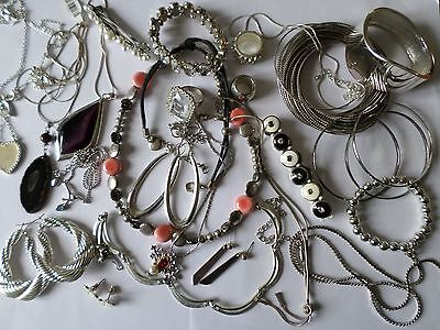 Job lot nice silver tone costume jewellery earrings bangles necklaces rings V