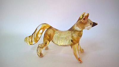 FOX Color Hand Blown Glass Figurine Art With Gold Trim
