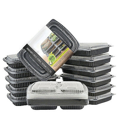 Meal Prep 2 Compartment Food Containers Box Microwavable Stackable BPA Free