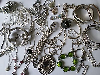 Job lot nice silver tone costume jewellery earrings bangles necklaces rings W