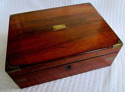 Antique Writing Desk for Travelers, Mahogany with Brass Insets