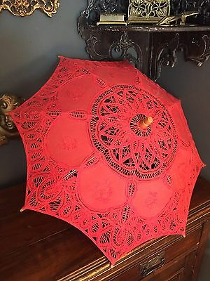 Vintage Wooden Handled Rose Pink Lace Small Parasol