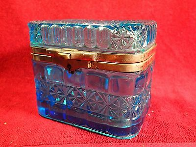 SCARCE dat.1903 ANTIQUE PRESSED BLUE GLASS TEA CADDY BOX IMPERIAL RUSSIAN RUSSIA