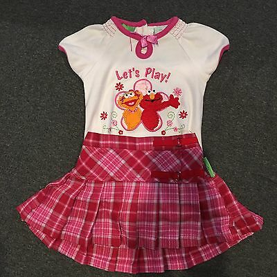Sesame Street Outfit 2 Piece Skirt And Shirt Size 12 Months Baby Girl Plaid