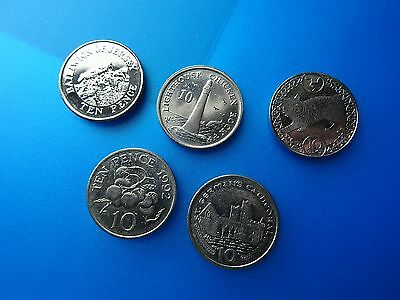 coins of Gibraltar Jersey Guernsey & Isle of Man 10 p / 5 ten pence Europe coins