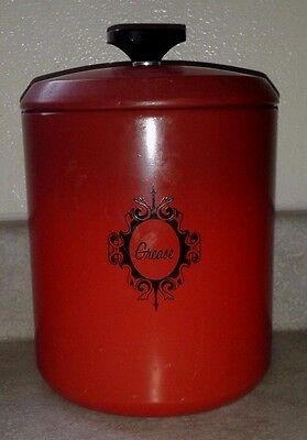 "Vintage 1960's Poppy Red West Bend Spun Aluminum 7"" Grease Canister"