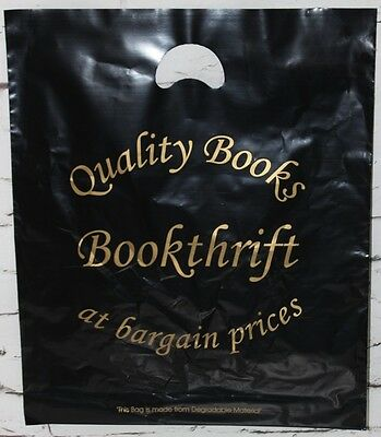 "PLASTIC BLACK  CARRIER BAGS BOOK SHOP STRONG PATCH HANDLE BAG- 18"" X 15"" Inches"