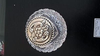Silver topped Antique cut glass inkwell