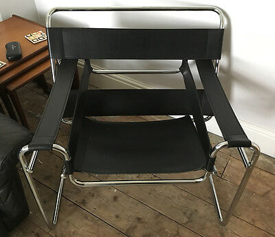 Vintage 'Wassily' Marcel Breuer Black Leather and Chrome Chair