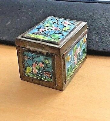 Vintage Asian Chinese Brass Enamel Hinged Stamp Box Flowers
