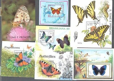 -Butterflies 25 Miniature sheets all different collection