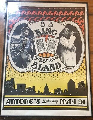 Bb King Bobby Blue Bland - Original 1980 - Fantastic Texas Blues Concert Poster