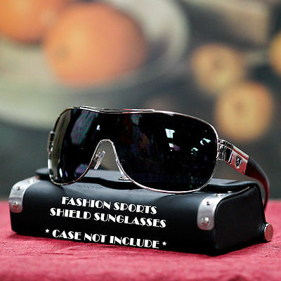 Sports Fashion Men Women Designer Khan Shield Sunglasses Shades UV Silver