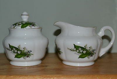 Lily of the Valley Sugar Creamer Set Lid England Fine Bone China MAY flower NEW