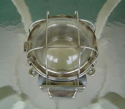 Vintage Stainless Steel Nautical Industrial Ceiling Light - Rewired