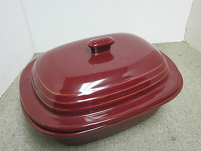 Pampered Chef Cranberry Roaster 3.1 Qt. Covered Stoneware Casserole Baker New