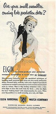 1957 Vintage Elgin National Watch Company Ad Late Production Dates