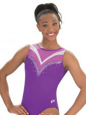New GK Elite Gymnastics Bodysuit Leotard Grape Fuschia E3155 Adult Small AS