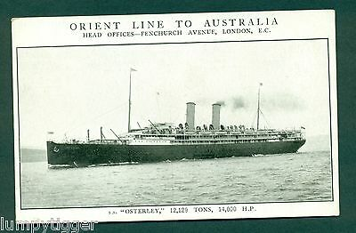 ORIENT LINE OF ROYAL MAIL STEAMERS,S S OSTERLEY, vintage postcard