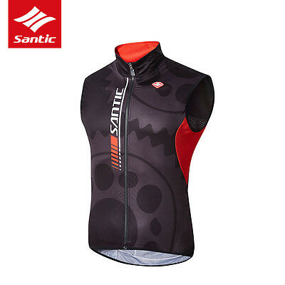 Santic Mens Cycling Gilet Windproof Wind Vest Lightweight Bike Jacket Clothing