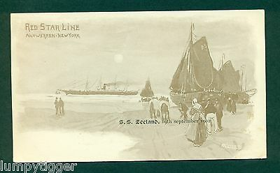 RED STAR LINE,S S ZEELAND 19 SEPT 1902 BY CASSIERS, vintage postcard