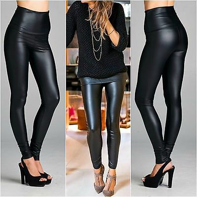 HIGH WAIST Black Liquid Leather Look Leggings BEST SELLER SUPER Stretch USA S-L