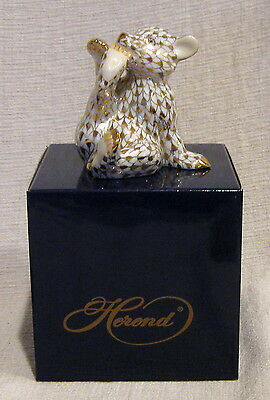 Herend Guild 2000 Gold Fishnet Bear Cub in Box 15484