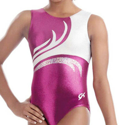 New GK Elite Gymnastics Bodysuit Leotard Fuschia White 3711-A Adult Small AS