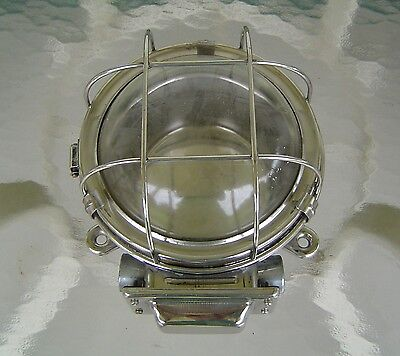Vintage Stainless Steel Industrial Ship's Ceiling Light Fixture Rewired (Lot B)