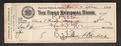 Rocky River, Ohio - First National Bank - Cancelled Bank Check